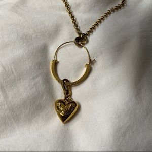 Juicy Couture Gold Heart Charm Keeper Necklace